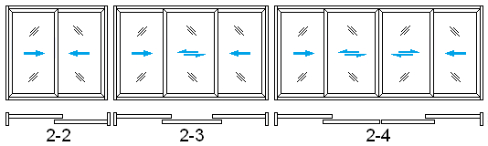 ALU-Wood sliding door's configurations