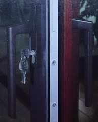 black handles of sliding door