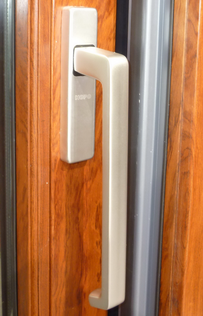 silver handle of sliding door